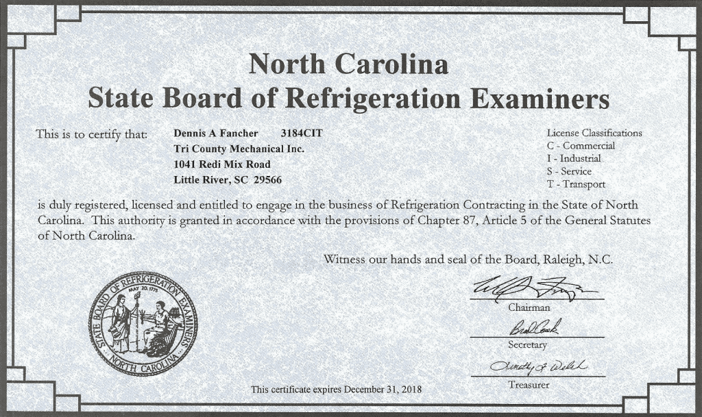 NC State Board of Refrigeration License