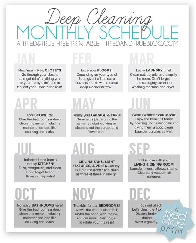 Deep Cleaning Monthly Schedule - Filled in