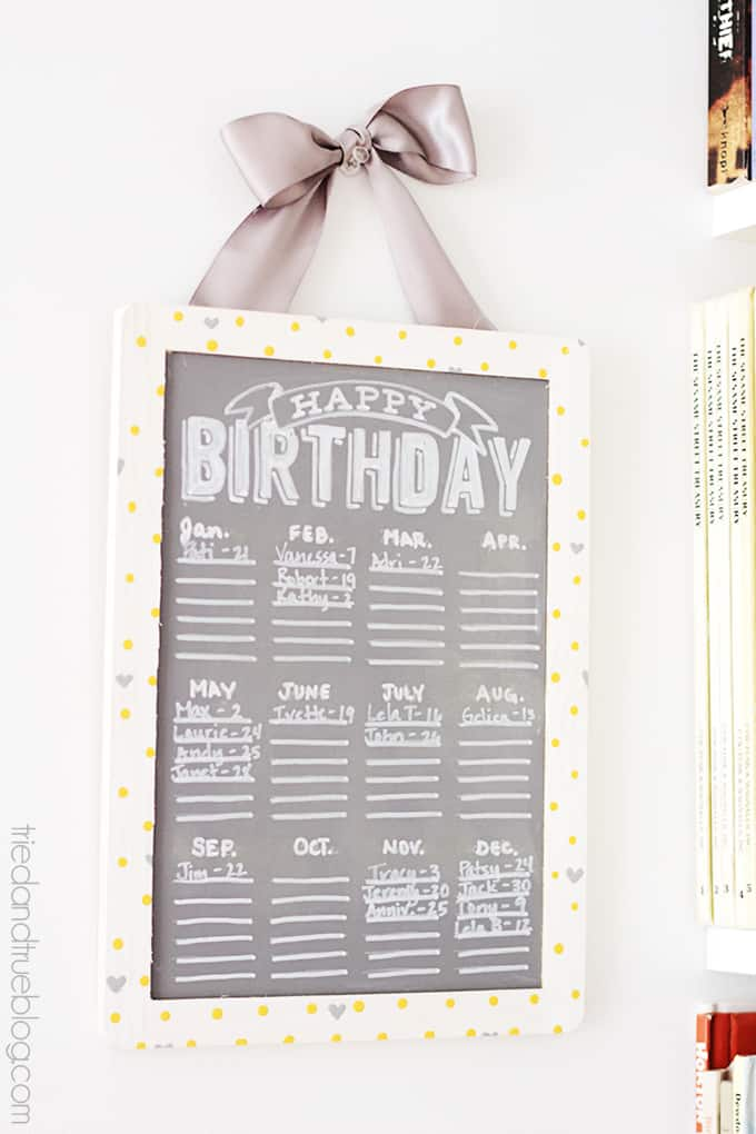 Easy Chalkboard Birthday Calendar Tried Amp True