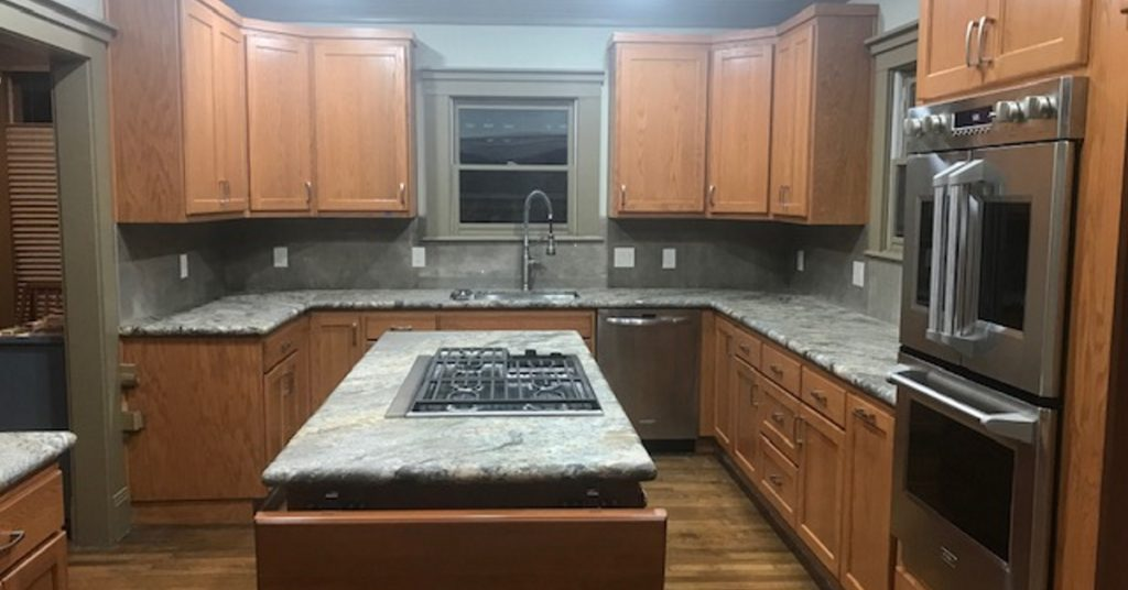 kitchen reface granite island table turns into full remodel trifection