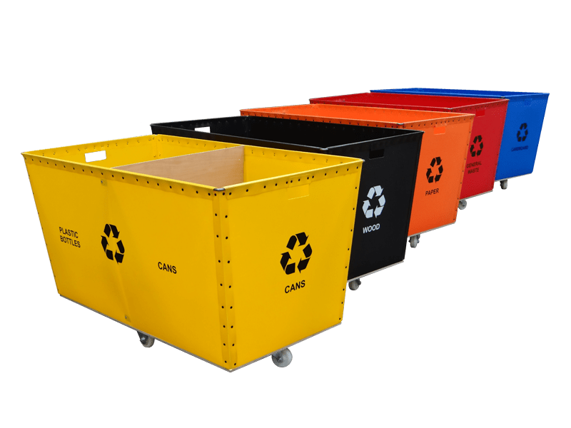 Coloured Recycling Bins with Wheels