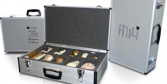 aluminium presentation case with corporate branding and bespoke foam interior