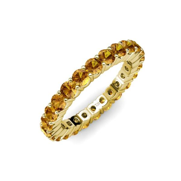 Citrine Shared Prong Eternity Ring Stackable 1.92 Ctw 14k