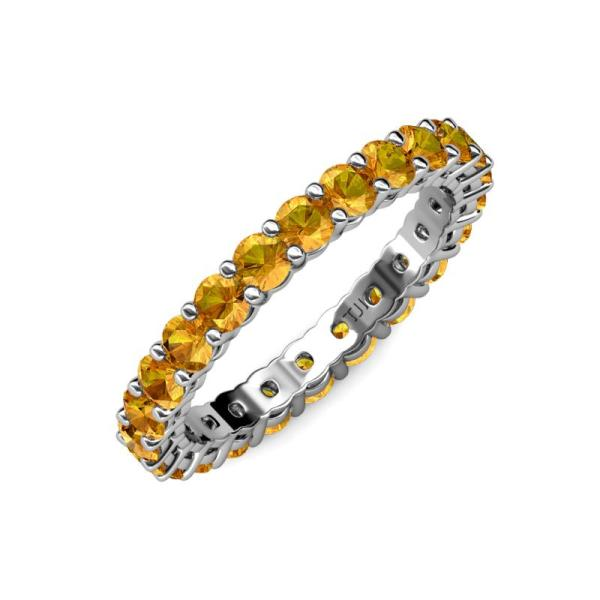 Citrine Side Shared Prong Womens Eternity Ring