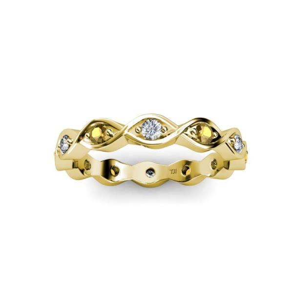 Citrine And Diamond Twisted Womens Eternity Ring Stackable