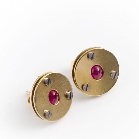 Ohrstecker 585 Gold Rubine  TRIMETALL Schmuckdesign