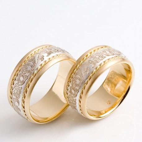 Wedding bands 18 k gold and sterlingsilver  TRIMETALL