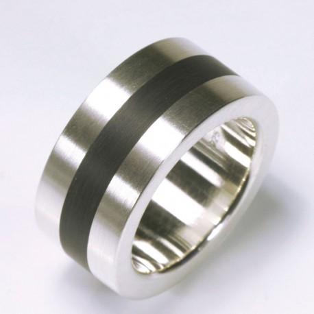 Ring 925 Silber Kaltemail  TRIMETALL Schmuckdesign