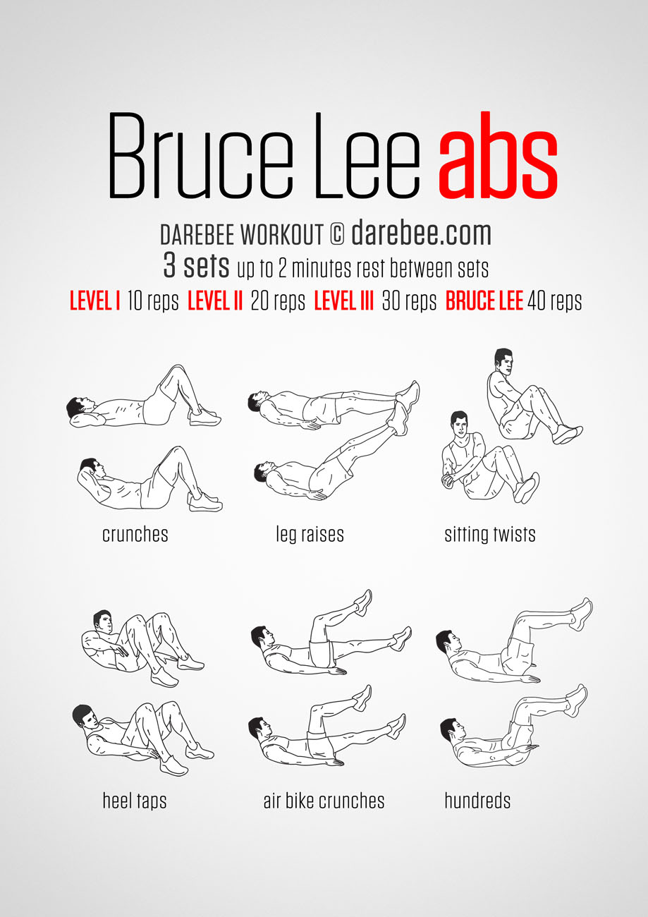 hight resolution of bruce lee abs workout