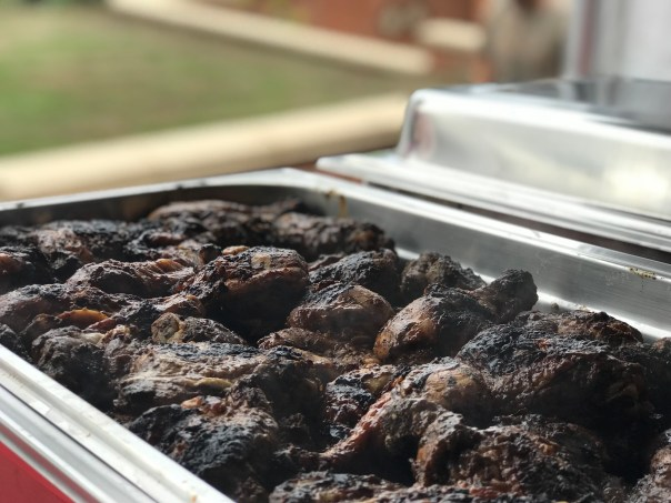 Jamaican Jerk Chicken Barbequed in Chafing Dish