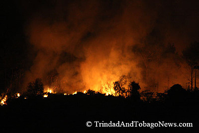 Fire in the hills in Maraval