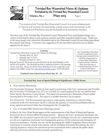 Trinidad Bay Watershed News May 2013