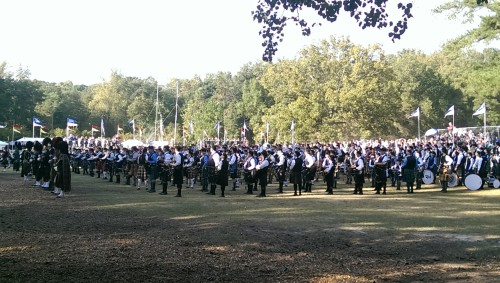 Two waves of pipers and drummers for massed bands