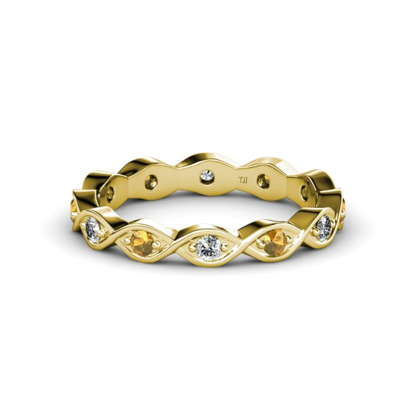 Citrine And Diamond Twisted Eternity Band 0.40 Ct Tw-0.44
