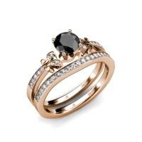 Black White Diamond 4 Prong Milgrain Bridal Set Ring ...