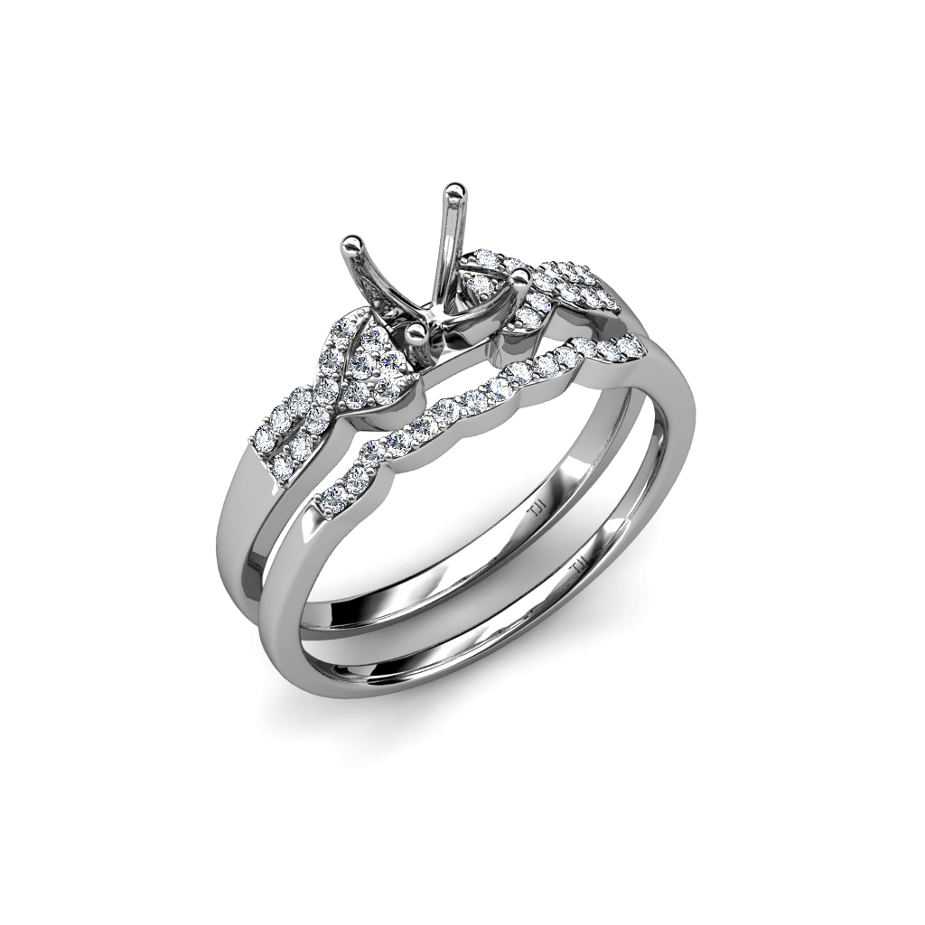 Diamond Bridal Set Swirl Semi Mount Ring & Wedding Band 0