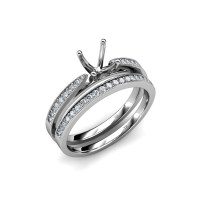 Diamond Milgrain Bridal Set Semi Mount Ring & Wedding Band