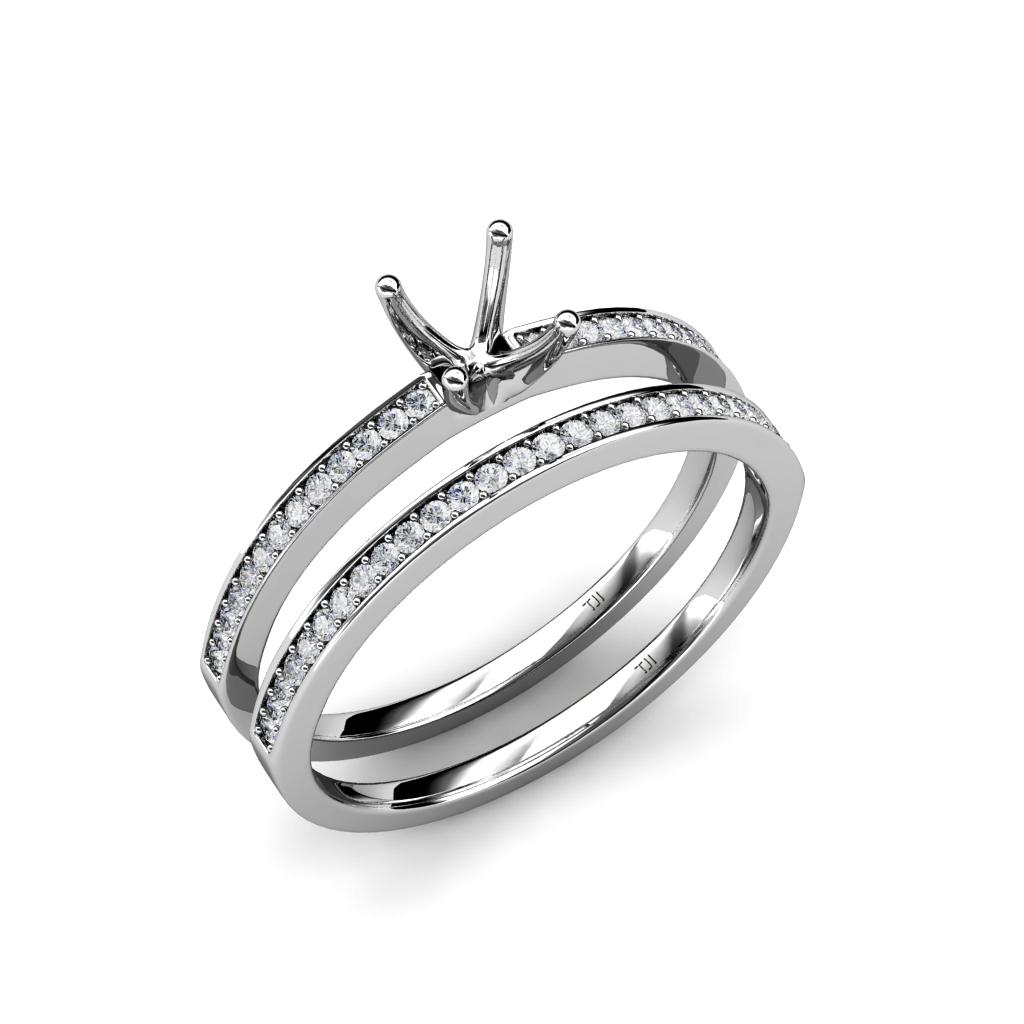 Diamond Semi Mount Ring & Wedding Band Bridal Set 0.40 ct