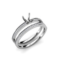 Diamond Semi Mount Ring & Wedding Band Bridal Set 0.40 ct