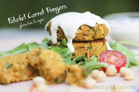Carrot falafel burgers by Trinity Bourne