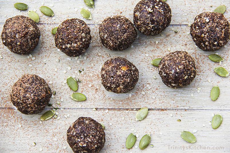 Super Seed Energy Balls with hemp, flax, pumpkin and sunflower seeds by Trinity Bourne - gluten-free, vegan recipe