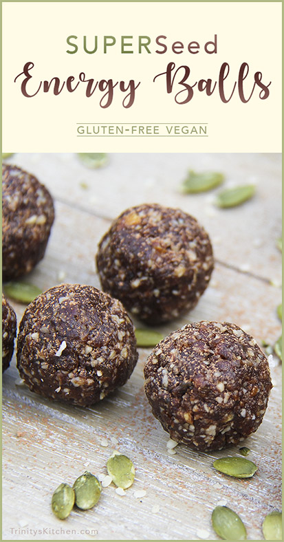 Superseed energy balls with hemp, flax, pumpkin and sunflower seeds by Trinity Bourne. Gluten-free vegan recipes.