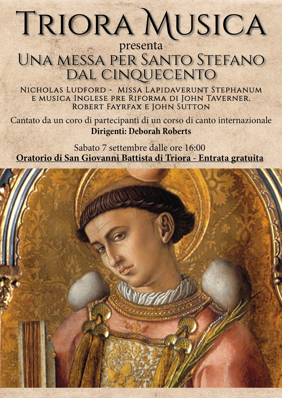"""Triora Musica presenta """"Una messa per Santo Stefano dal cinquecento"""""""