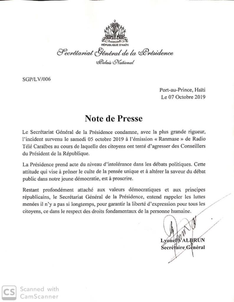 Palais National condamne l'agression contre ses conseillers