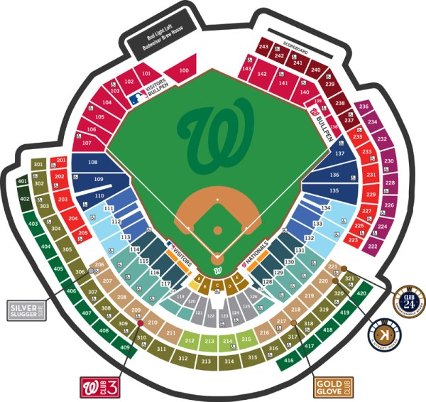 Nationals Park Seating Map Where to Find Shaded Seats at Nationals Park   Trip Hacks DC Nationals Park Seating Map