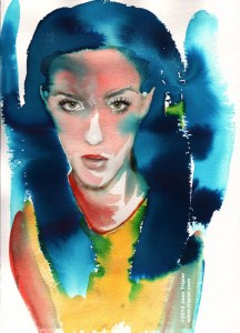 Girl, slanted - watercolor