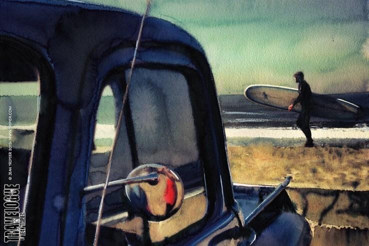 Surf art: At Ocean Beach (watercolor by Jean Tripier)