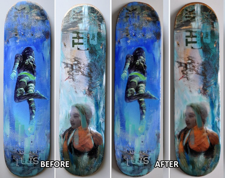Skate decks before and after art resin top coat