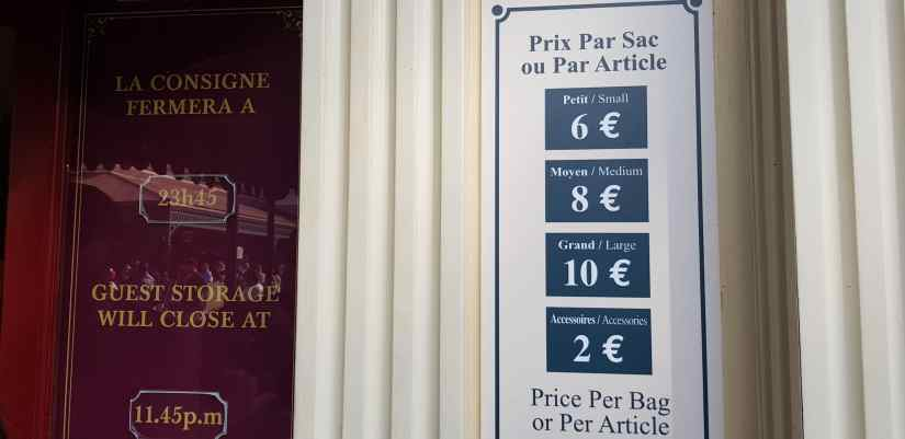 Disneyland Paris luggage storage prices