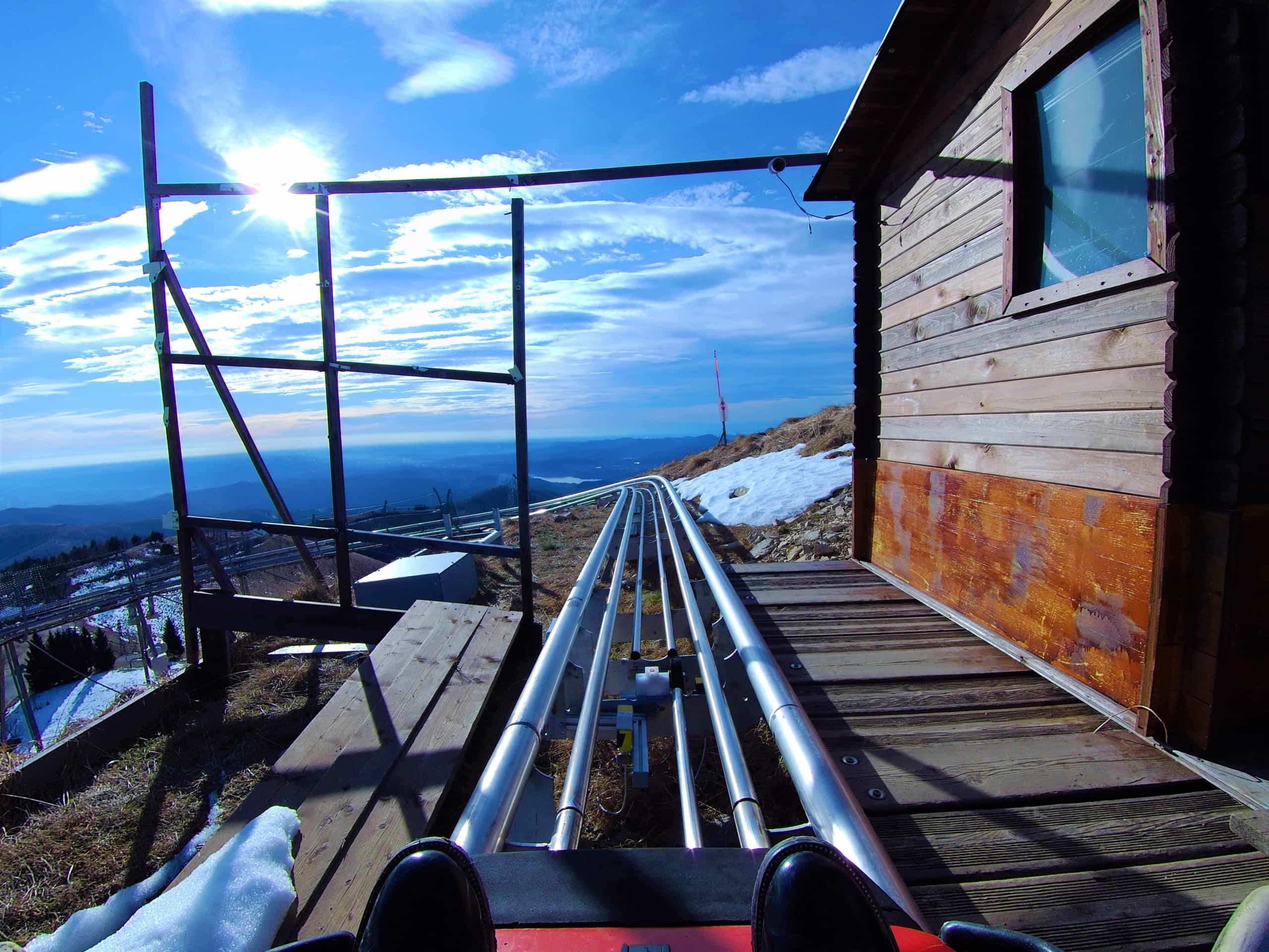 Italy Stresa Lake Maggiore in winter mottarone alpyland mountain roller coaster ride view - Copia