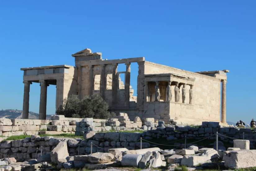 Authentic Ancient Greek Temples in Athens Acropolis Erechtheion