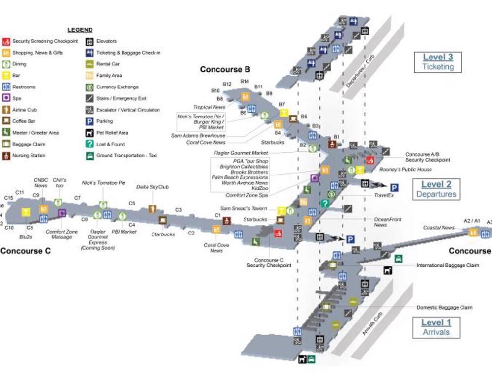 medium resolution of palm beach international airport pbi ground floor map