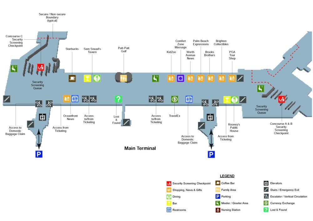 medium resolution of palm beach international airport ground floor outside map