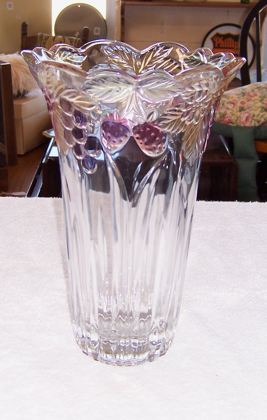 Triple A Resale Mikasa Crystal Vase Tinted Grapes Pattern