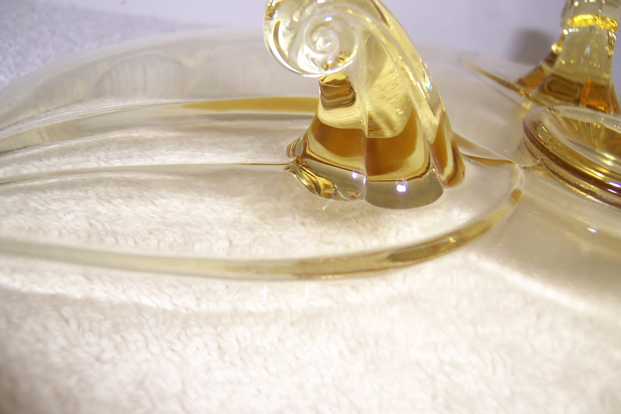 Fostoria Yellow Depression Glass Footed Cake Plate