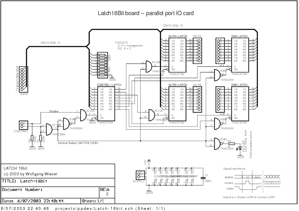 Latch16Bit Board: Circuit Sheet