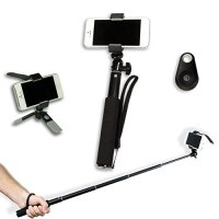 Gorilla Gear TM Complete Selfie Kit - Monopod, Mini Tripod, Camera Remote Shutter Button, Unique Holder - Portable Traveller Edition for Sports and General Use - Color, Black - Lifetime Guarantee by Gorilla Gear