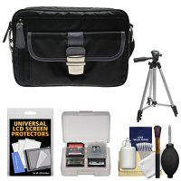 Nikon 1 Series & Coolpix Deluxe Digital Camera Case (Black) with Tripod + Kit for 1 S2, J4, V3, AW1, Coolpix L830, L840, P530, P600, P610, P900