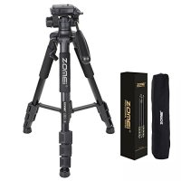 ZOMEI Q111 Camera Tripod Professional 55 inch Camcorder Stand with Pan Head Plate and Travel Carry Bag for DSLR Canon Nikon Sony DV Video BLACK
