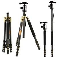 """Tripods Carbon Fiber, K&F Concept TC2534 Lightweight Portable Camera Tripod Monopod kit 66""""/168cm Professional Travel Tripod for DSLR Cameras Canon Nikon Simga Tamron Sony"""