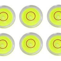 """10 x High Visibility 25mm x 10mm Disc Bubble Level Circular Yellow Red Tripod 1"""""""