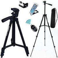 "FOANT Aluminum Professional Lightweight Camera Tripod for iPhone, Cellphone,Gopro Hero,Cameras,Recorders with Cellphone Holder Clip and Remote Shutter-43""/Black"