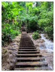 Steps at Kuang Si Waterfall, Luang Prabang, Laos