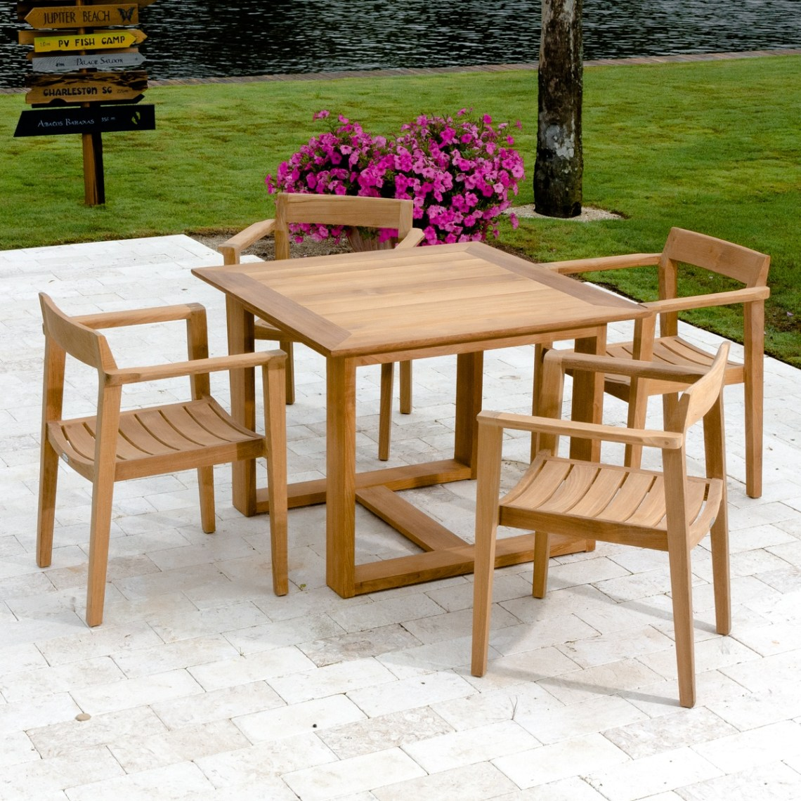 Outdoor Teak Dining Set For Four