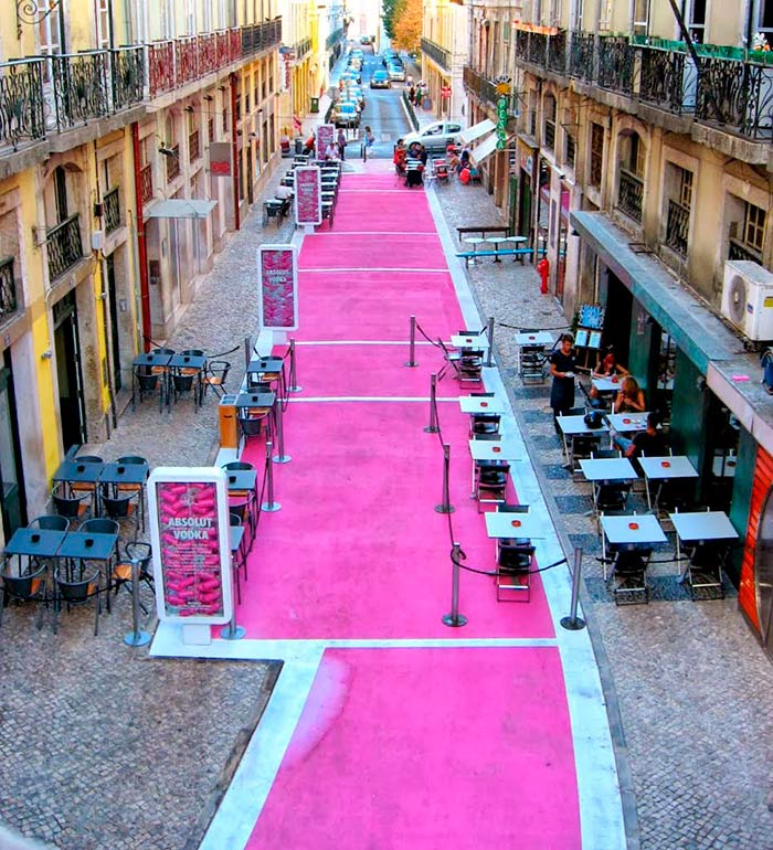 The Pink Street in Lisbon, Portugal