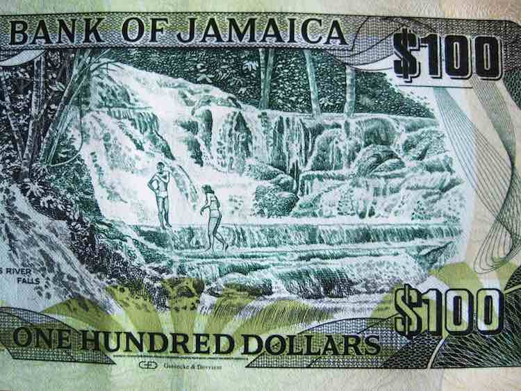 Dunns River Falls on a one hundred Jamaican dollar bill